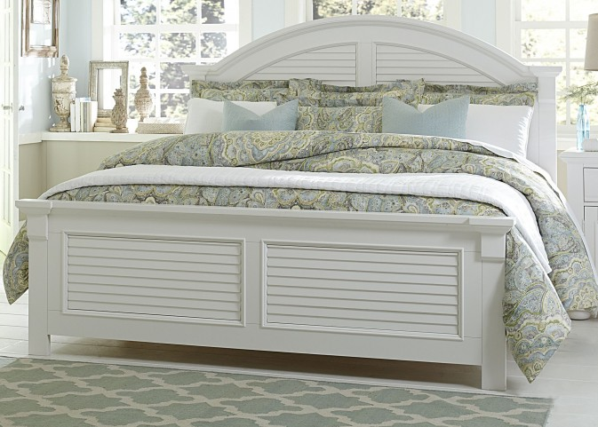 Summer House Oyster White Queen Panel Bed