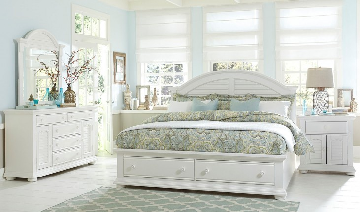 Summer House Oyster White Panel Storage Bedroom Set