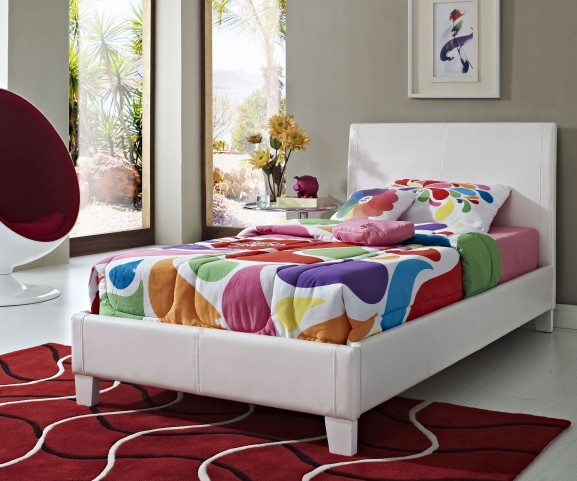 Fantasia White Twin Upholstered Bed