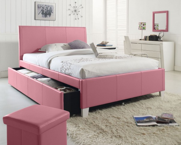 Fantasia Pink Twin Upholstered Trundle Bed
