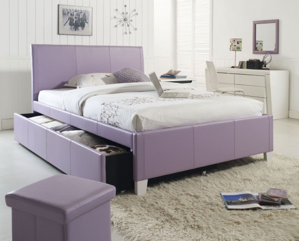 Fantasia Lavender Twin Upholstered Trundle Bed
