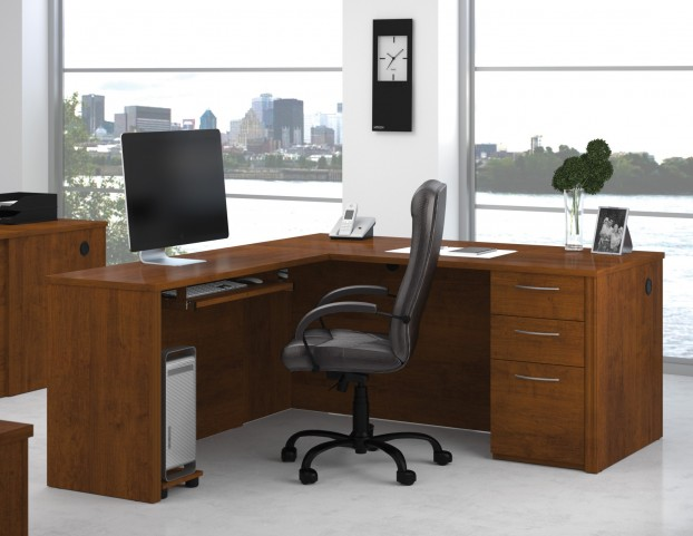 Embassy Tuscany Brown L-Shaped Workstation Kit