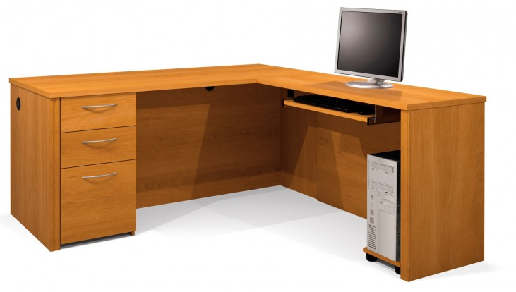 Embassy Cappuccino Cherry L-Shaped Workstation Kit