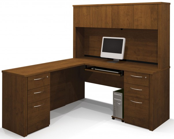 Embassy Tuscany Brown L-Shaped Desk with Hutch