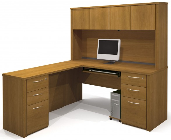 Embassy Cappuccino Cherry L-Shaped Workstation with Hutch