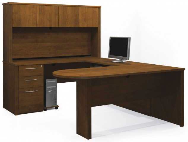 Embassy Tuscany Brown U-Shaped Workstation with Hutch