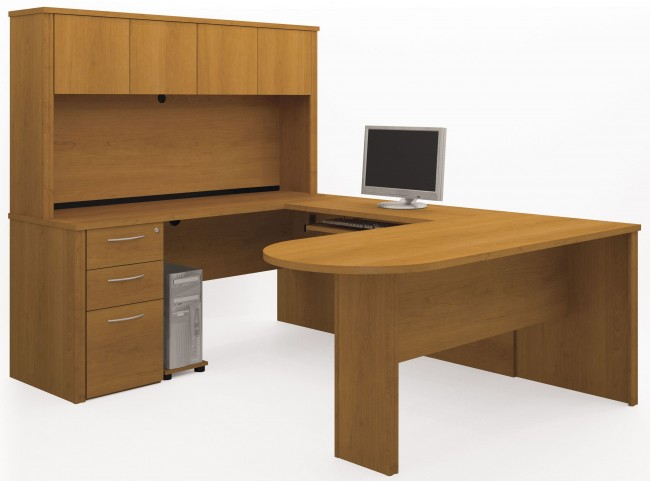 Embassy Cappuccino Cherry U-Shaped Pedestal Workstation