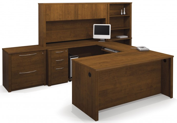 Embassy Tuscany Brown U-Shaped Workstation with Oversized Pedestal