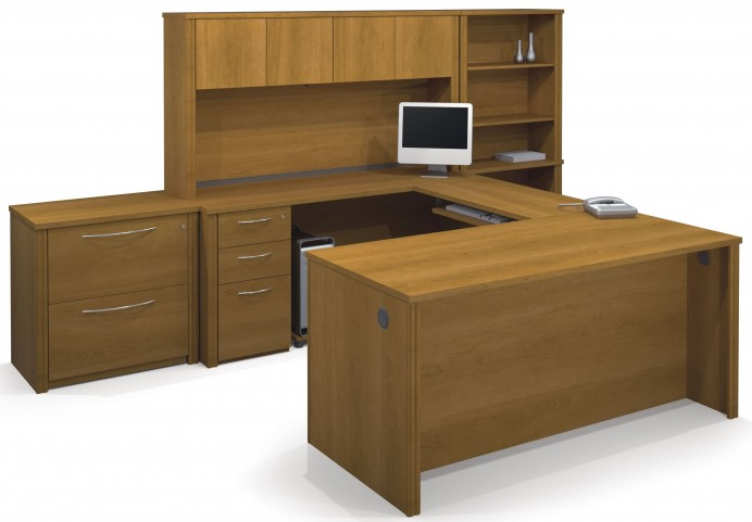 Embassy Cappuccino Cherry U-Shaped Workstation with Oversized Pedestal
