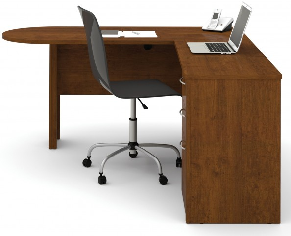 Embassy Tuscany/Brown L-Shaped Workstation Kit
