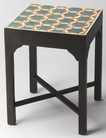 Bishop Teal & Orange Bone Inlay Bunching Table