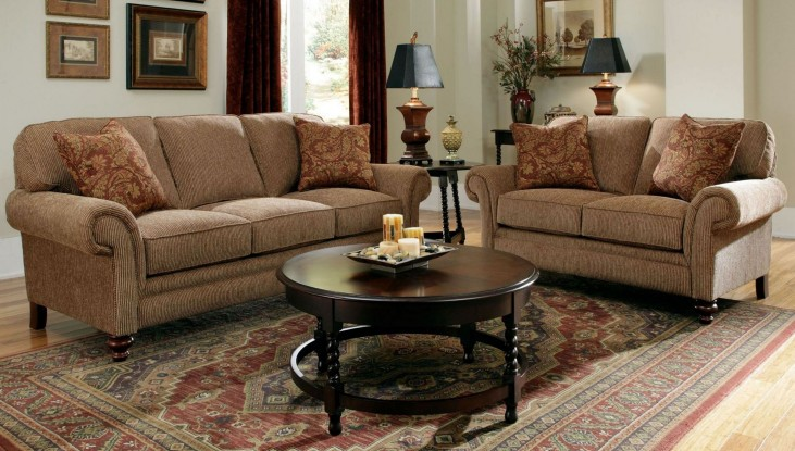 Larissa Cherry Stain Chenille Fabric Living Room Set