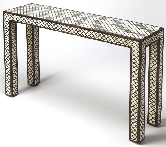 Basan Wood & Bone Inlay Console Table
