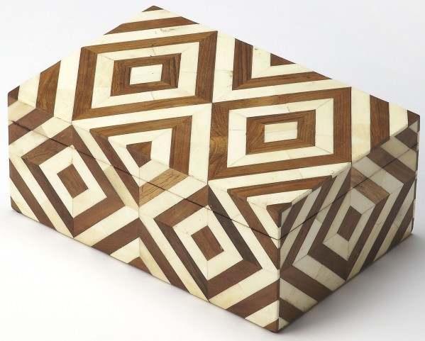 Maya Wood & Bone Inlay Storage Box