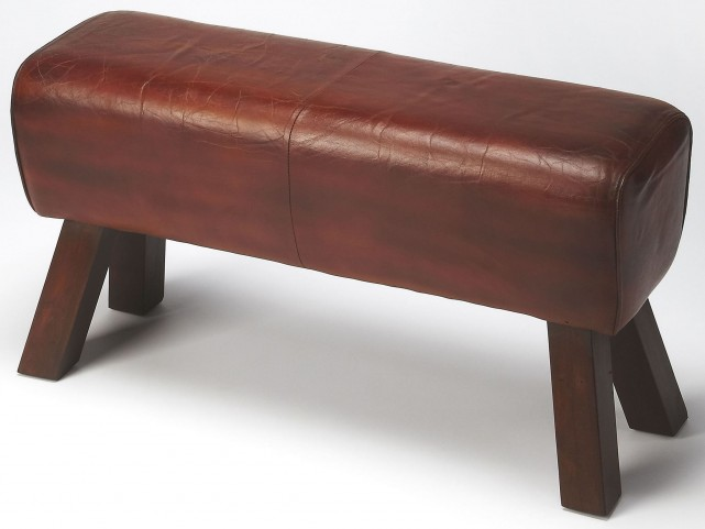 Masterson Brown Leather Bench