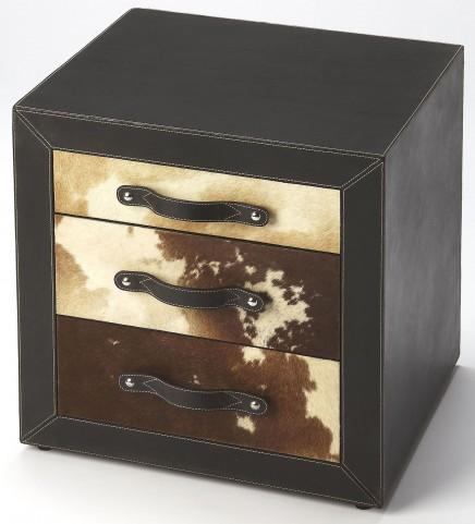 Ella Leather & Hair-On-Hide Side Table