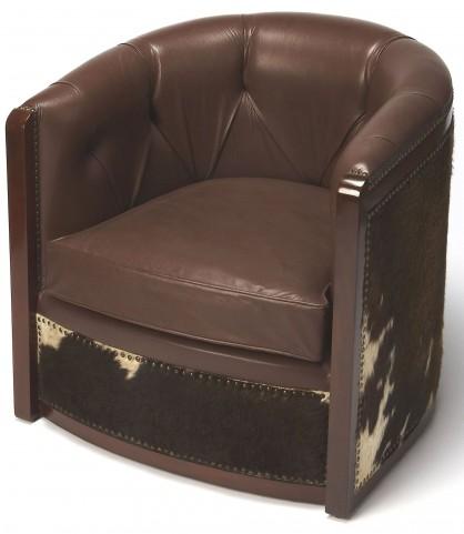 Wyatt Leather & Hair-On-Hide Tub Chair