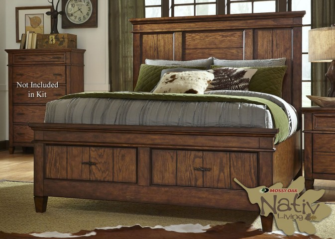 Rocky Mountain Whiskey Brown King Storage Panel Bed