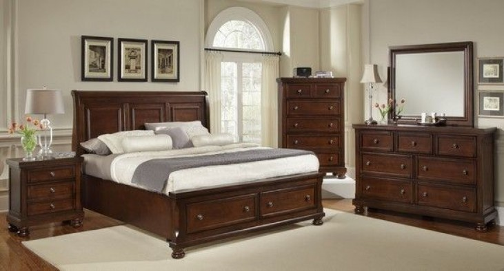 Reflections Dark Cherry Sleigh Storage Bedroom Set