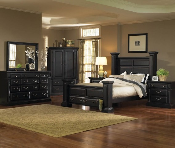 Torreon Antique Black Panel Bedroom Set