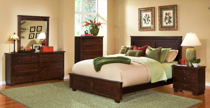Diego Espresso Pine Panel Bedroom Set