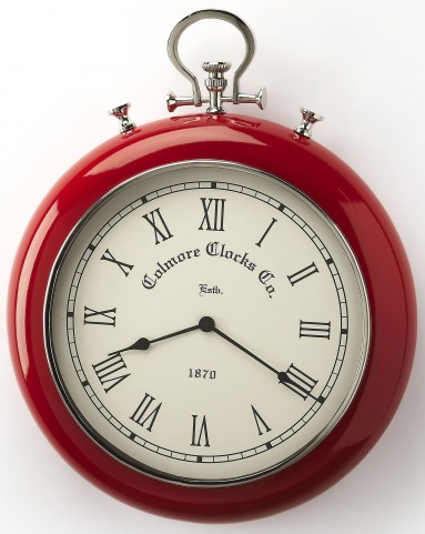 Scarlet Red & Nickel Finish Wall Clock