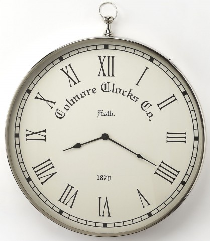 Grafton Nickel Finish Wall Clock