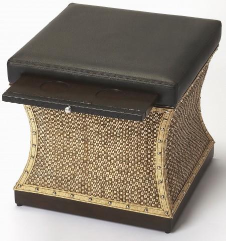 Mathilda Raffia & Leather Bunching Ottoman