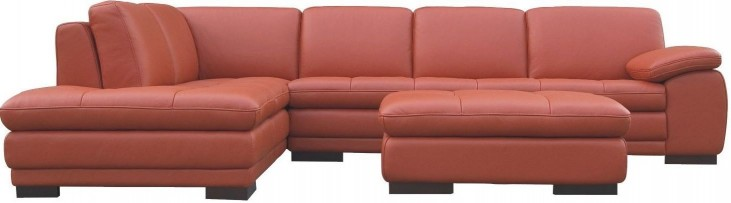 625 Pumpkin Italian Leather LAF Sectional