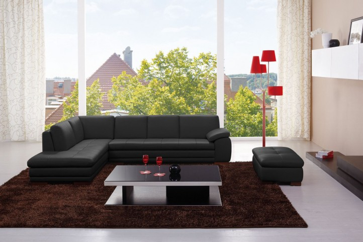 625 Black Italian Leather RAF Sectional