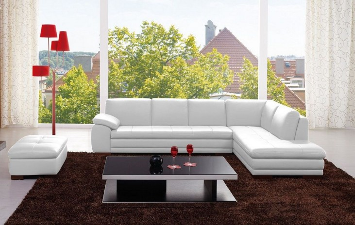 625 White Italian Leather LAF Sectional