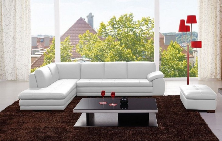 625 White Italian Leather RAF Sectional