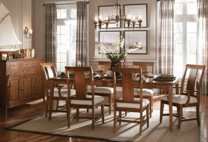 Cherry Park Rectangular Extendable Leg Dining Room Set