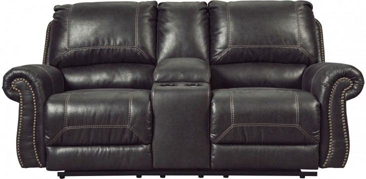 Milhaven Black Double Reclining Console Loveseat