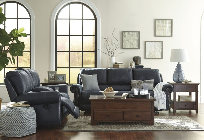 Milhaven Navy Reclining Power Living Room Set