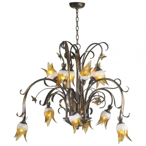 Papillion Venetian Iron 12 Light Chandelier