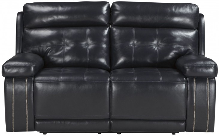 Graford Navy Power Reclining Loveseat With Adjustable Headrest