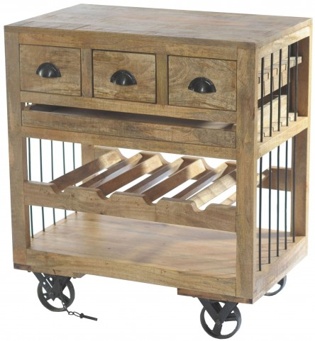 Amara Wooden Wine Cart With Shelf On Wheels