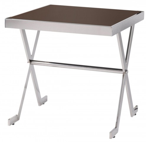 Campaign Silver And Brown Accent Table