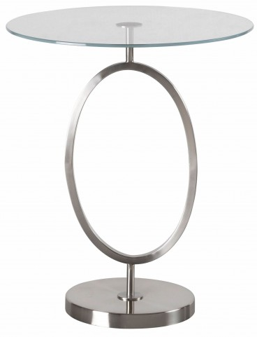 Oke Brushed Steel Accent Table