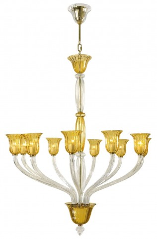 Vetrai Golden 10 Light Chandelier