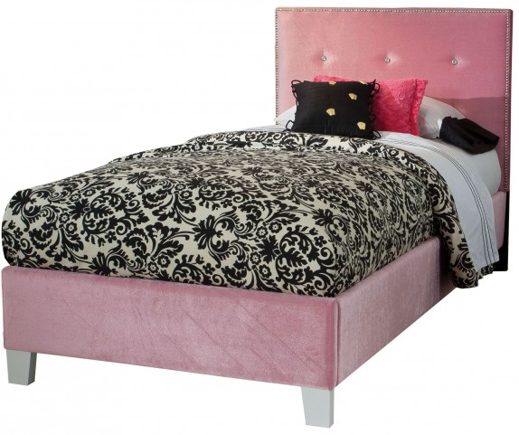 Young Parisian Pink Twin Upholstered Bed