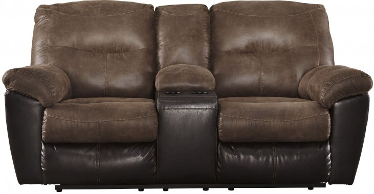 Follett Coffee Double Reclining Console Loveseat