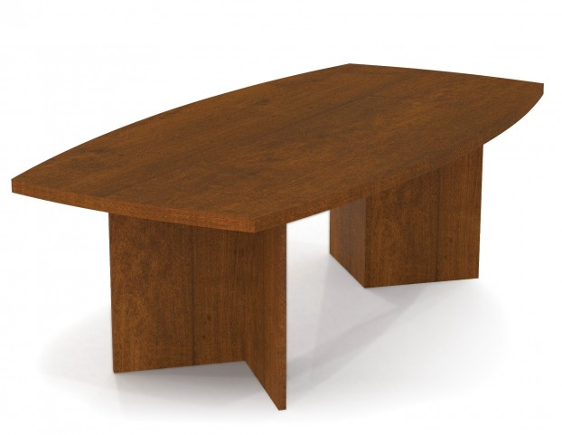 "Boat Shaped Conference Table With 1 3/4"" Melamine Top In Tuscany Brown"