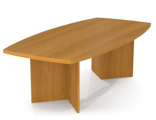 Boat Shaped Conference Table With Melamine Top In Cappuccino Cherry