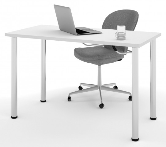 "48"" White Round Metal Leg Table"