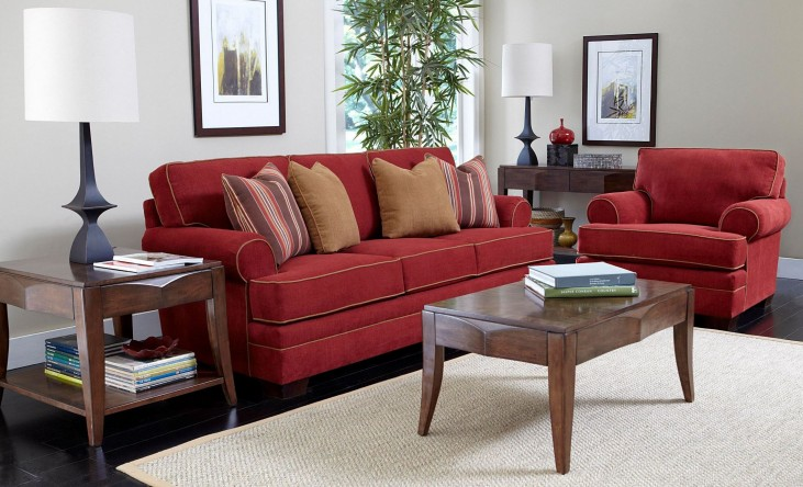 Landon Walnut Microfiber Living Room Set