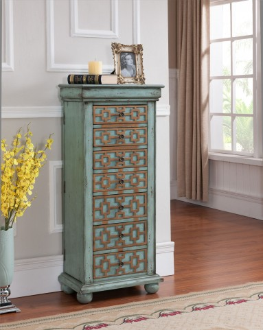 Keller Blue with Gold Jewelry Armoire
