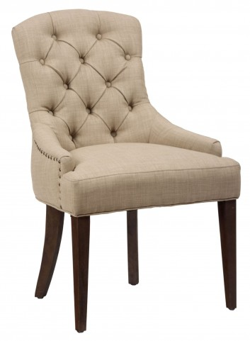 Geneva Hills Rustic Brown Tufted Side Chair Set of 2