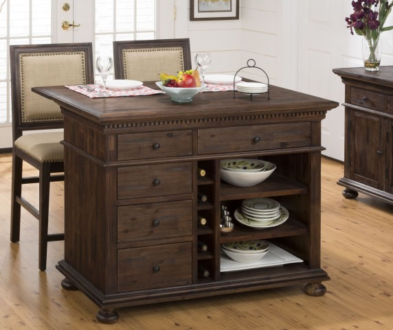 Geneva Hills Rustic Brown Extendable Kitchen Island Set